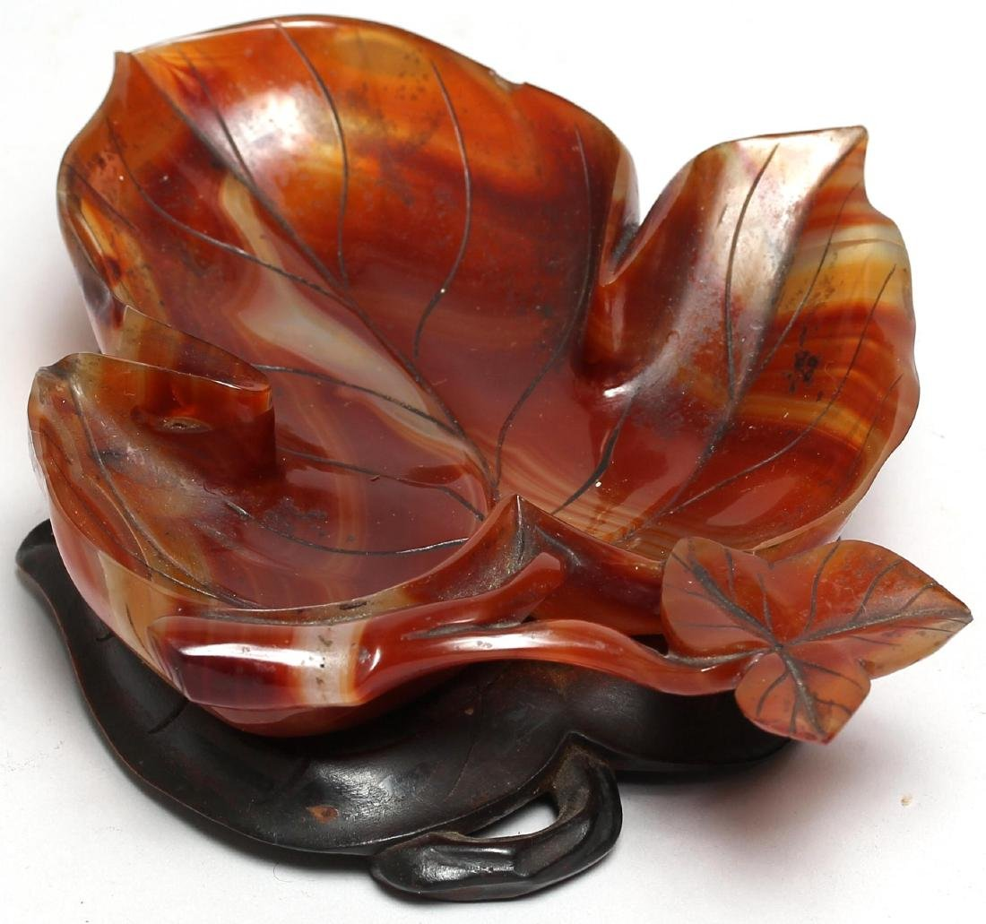 Chinese Carved Agate Leaf-Form Bowl - 3