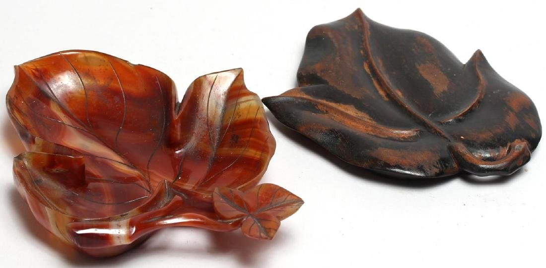 Chinese Carved Agate Leaf-Form Bowl - 4