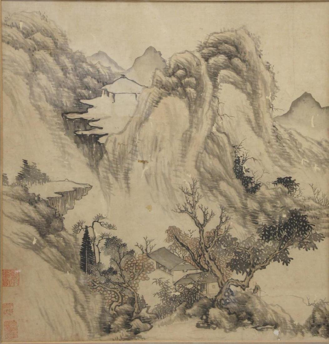 Vintage Chinese Inks on Silk Landscape Painting