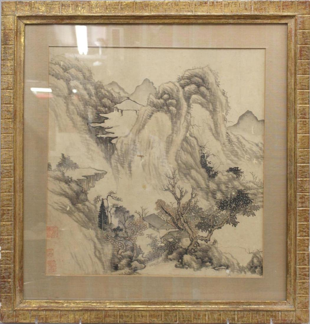 Vintage Chinese Inks on Silk Landscape Painting - 2