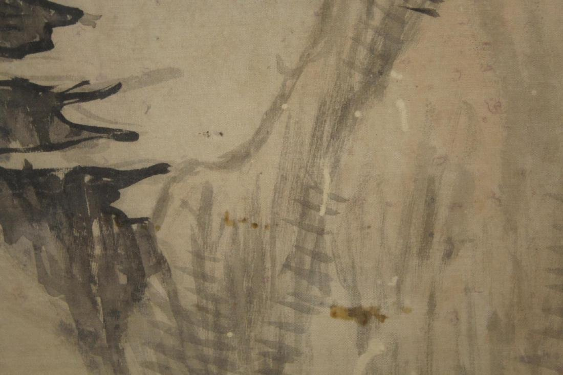 Vintage Chinese Inks on Silk Landscape Painting - 3
