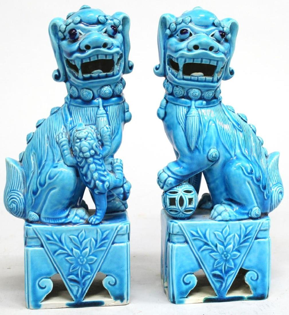 Pair of Turquoise-Glazed Chinese Shi Lions