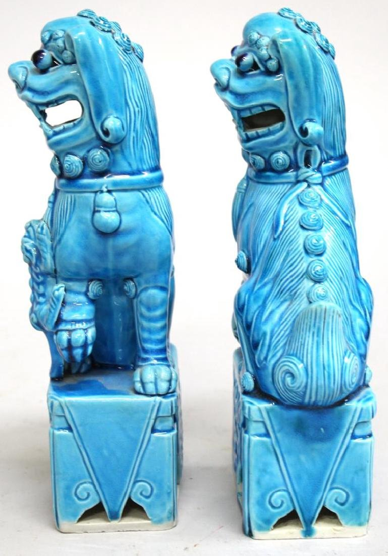 Pair of Turquoise-Glazed Chinese Shi Lions - 2