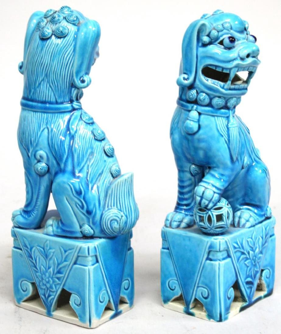 Pair of Turquoise-Glazed Chinese Shi Lions - 3