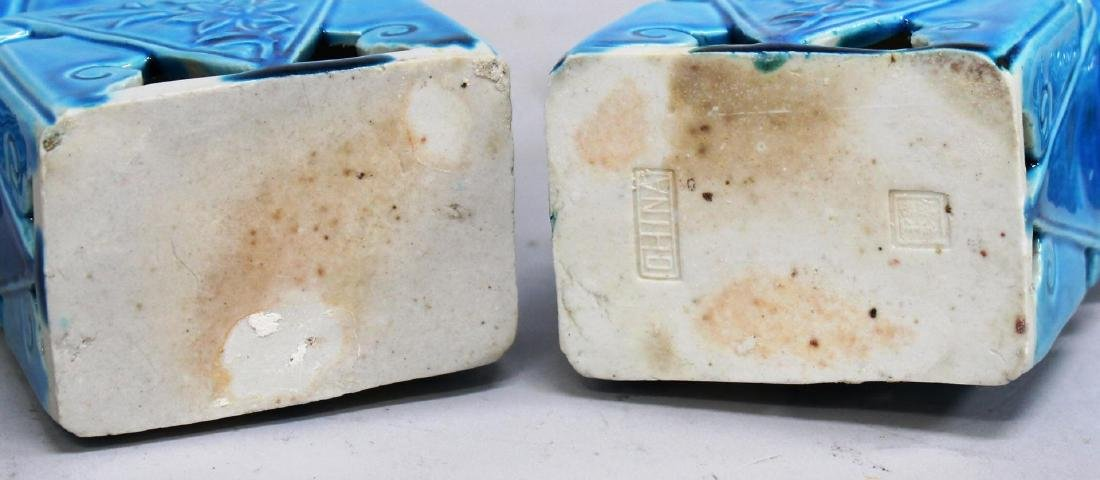 Pair of Turquoise-Glazed Chinese Shi Lions - 4