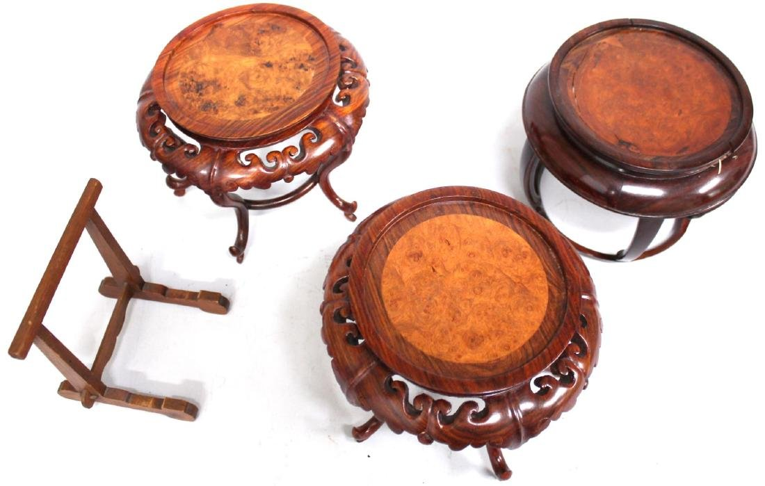 4 Vintage Chinese Carved Wood Stands - 2