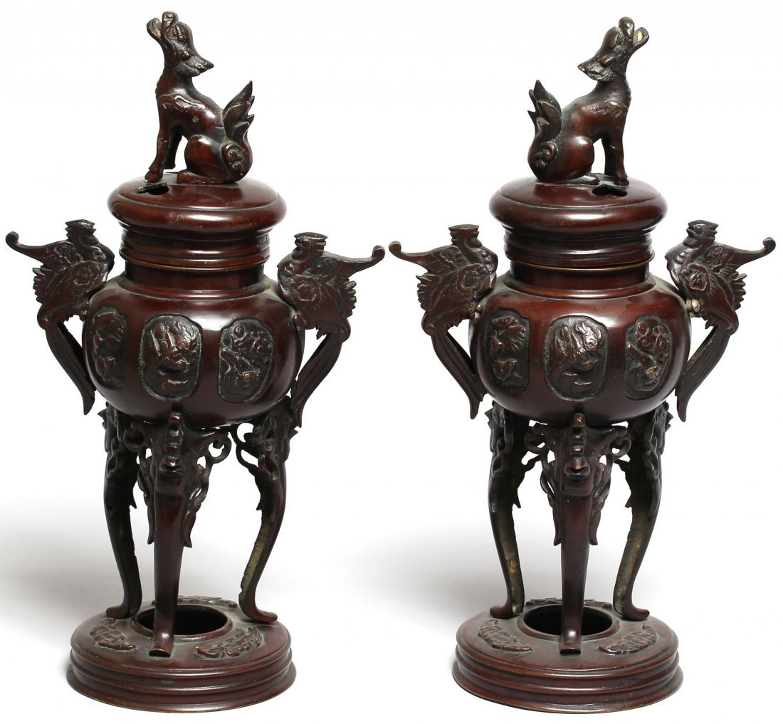 Pair of Chinese Bronzed Metal Incense Braziers