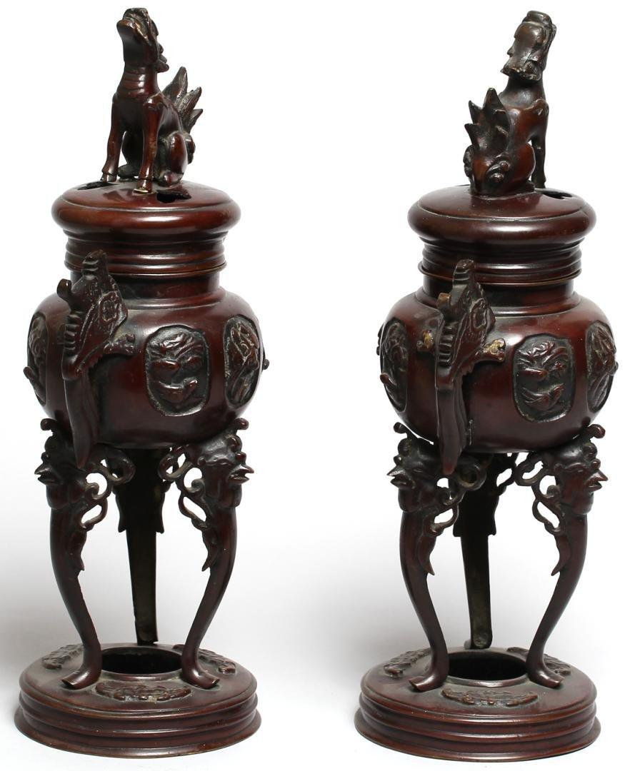 Pair of Chinese Bronzed Metal Incense Braziers - 2