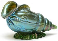 Loetz Iridescent Blue Seashell, ca. 1900
