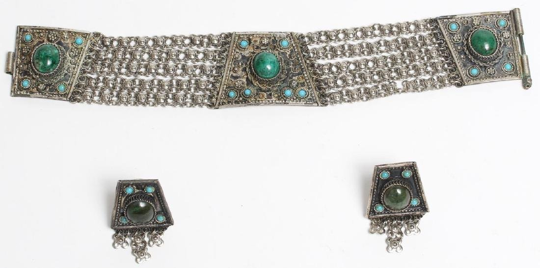 Israeli Silver & Eilat Stone Bracelet & Earrings
