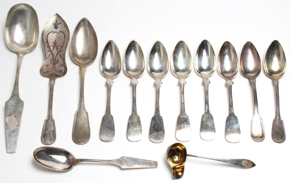 13 Assorted Antique German .812 Silver Spoons