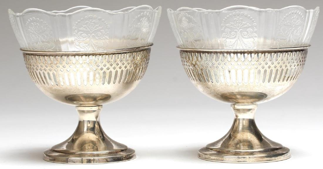 Pair of Sterling Silver & Glass Ice Cream Bowls