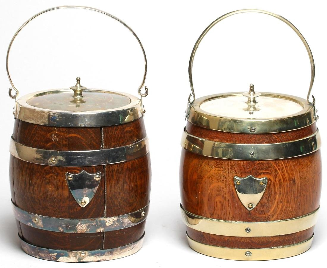 2 English Oak Biscuit Barrels, ca. 1900