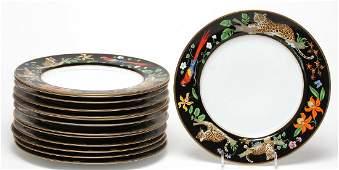 """14 Lynn Chase """"Jaguar Jungle"""" Dinner Plates"""