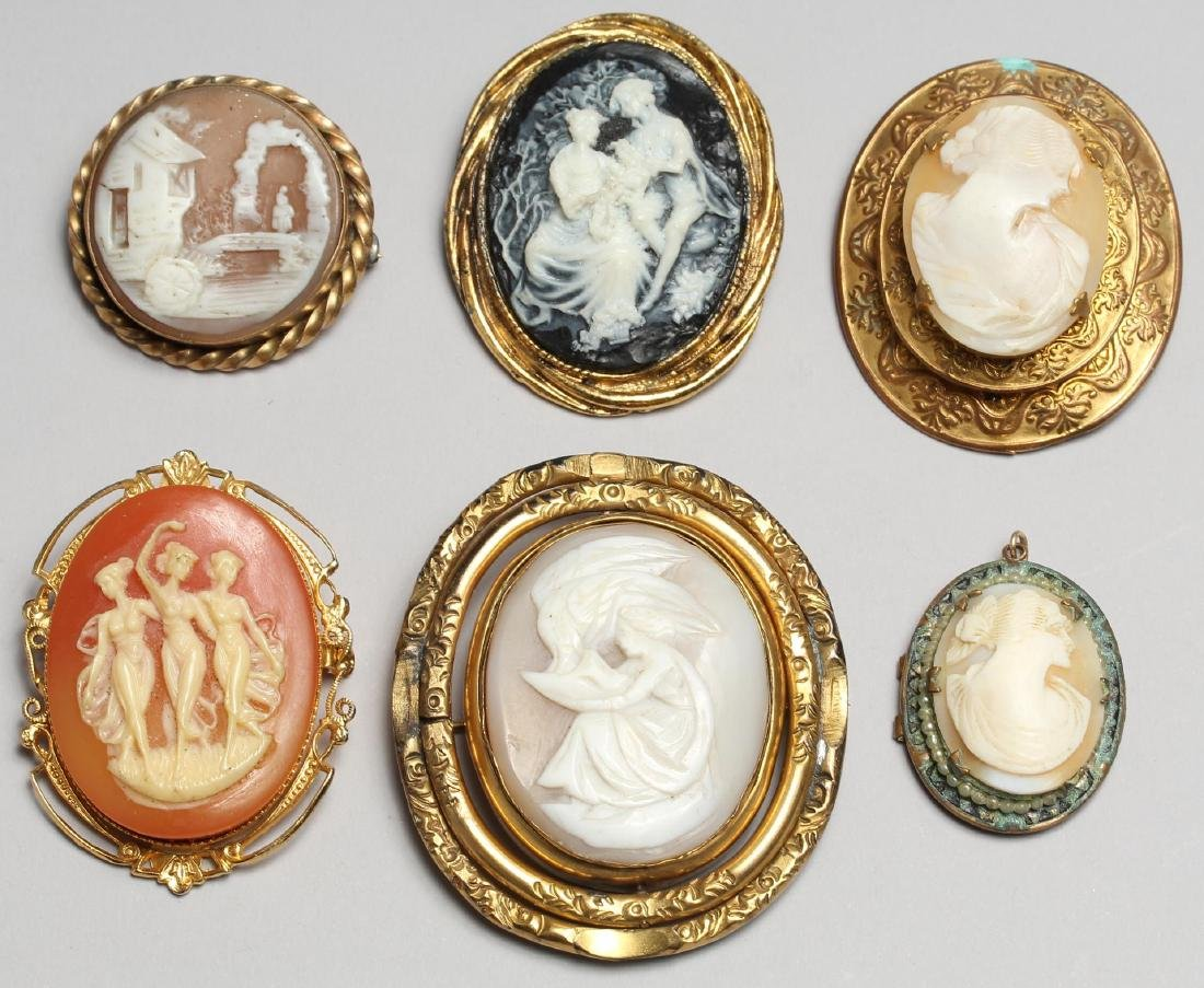 6 Cameo Brooches, including Shell