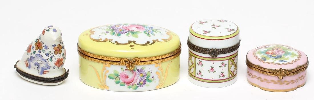 4 Vintage Limoges Hand-Painted Pill Boxes