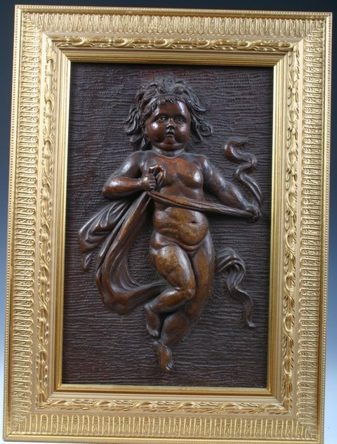 503: Gilt Framed Wood Relief Carving of a Cherub
