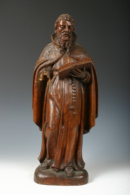 10: Large 17th c Wood Sculpture of a Belgian Monk