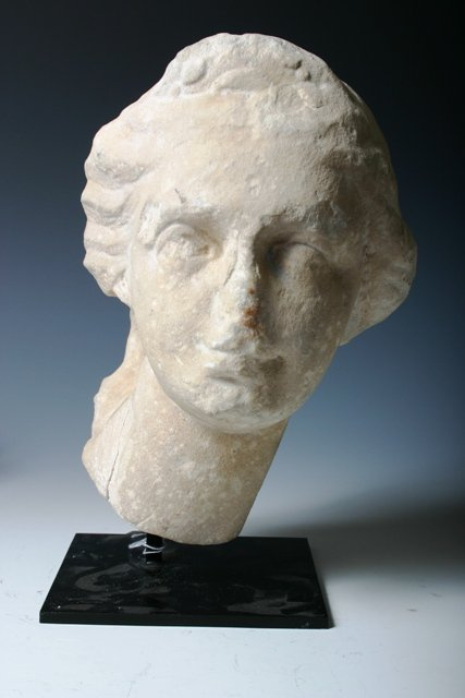 12: Roman Marble Head of a Woman c 1 c A.C.E