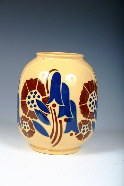 25: French Art Deco Handpainted Porcelain Vase c1925