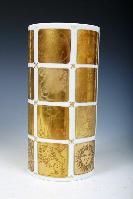 235:Bjorn Winblad Rosenthal White & Goldleaf Vase c1980