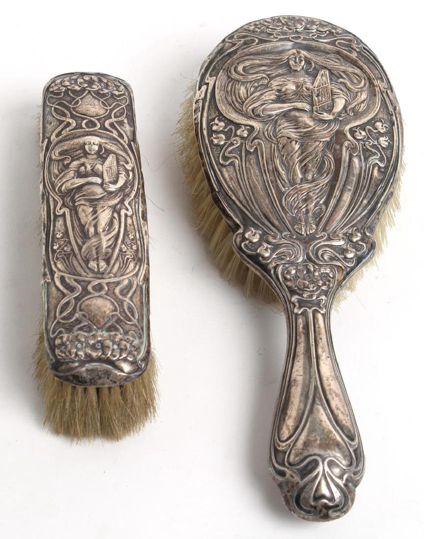2 Art Nouveau English Sterling Silver Brushes