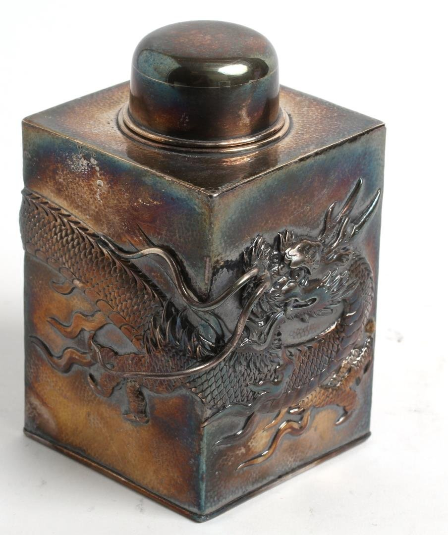 Chinese Export Silver Tea Caddy