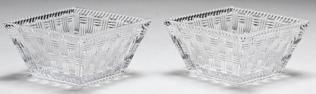 "Pair of Tiffany ""New Woven"" Crystal Square Bowls"