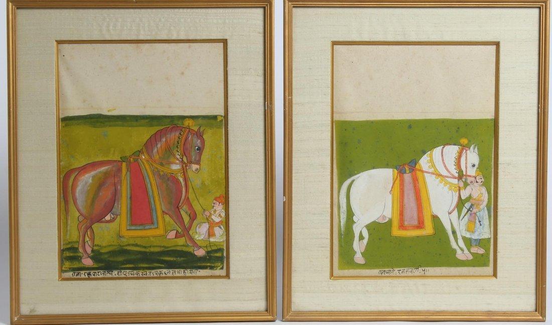 Pair of Mughal Indian Horse & Groom Paintings