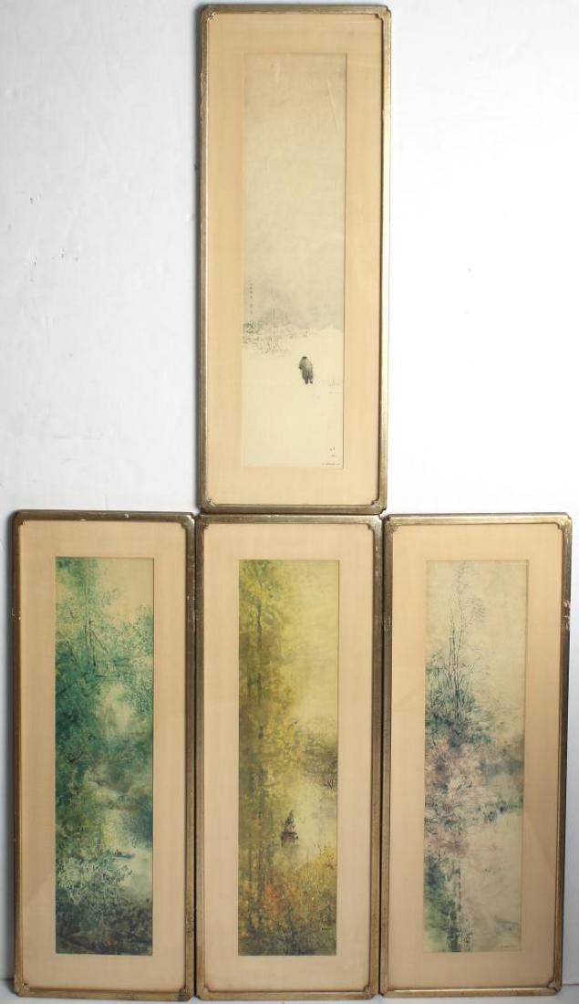 4 Asian Prints on Paper Depicting the Seasons
