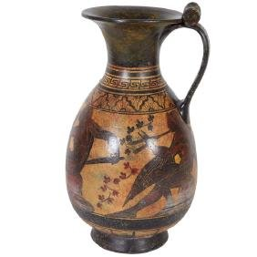 Ancient Greek-Style Black Figure Pottery Pitcher