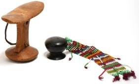 2 Ethnographic Tribal Carved Wood & Beaded Pieces