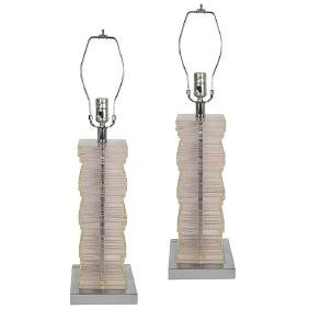 Lucite Table Lamp: Pair of Stepped Lucite Table Lamps,Lighting