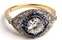 Platinum, 18K Gold, Diamond, & Sapphire Ring