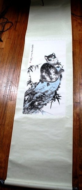 3: Large Chinese Scroll Painting of a Cat on a Rock