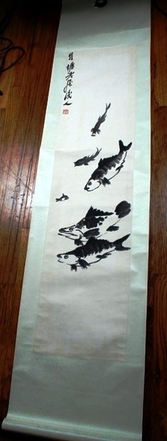 8: Large Chinese Scroll Painting of a Fish