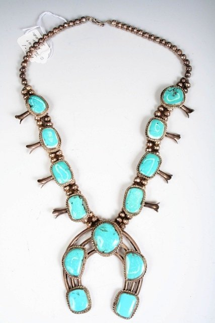 9: Elaborate Mexican Silver & Turquoise Necklace c1960s