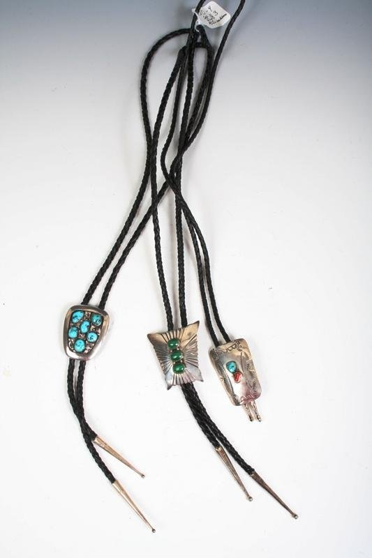12: Set of 3 Sterling, Turquoise & Agate Bolo Necklaces