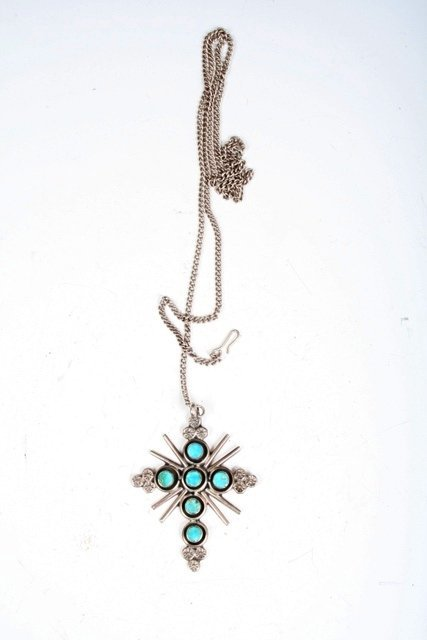 13: Sterling & Turquoise Cross/Star Pendant on Chain.