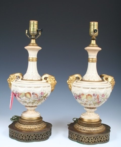 18: Pair Converted Possibly Royal Worcester Lamps
