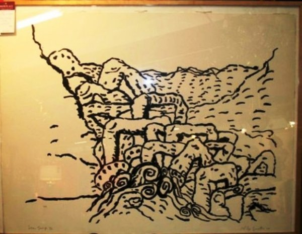 """36: Large Phillip Guston Lithograph """"Sea Group"""" 1980"""