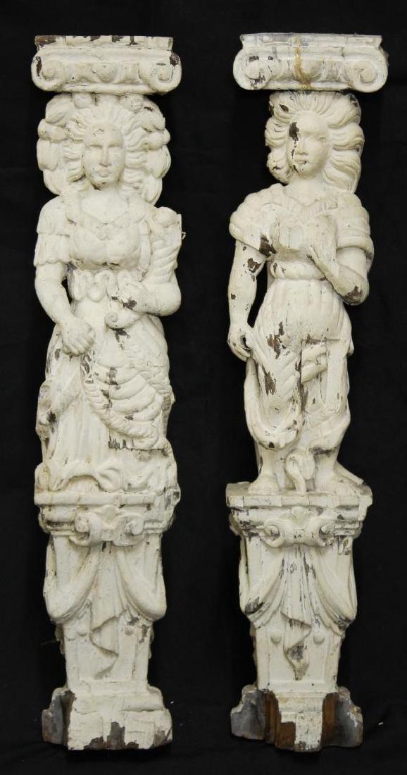 Pair of Antique Carved Wood Caryatid Columns