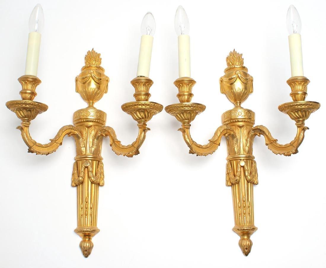 Pair of Neoclassical Gilt Bronze Sconces