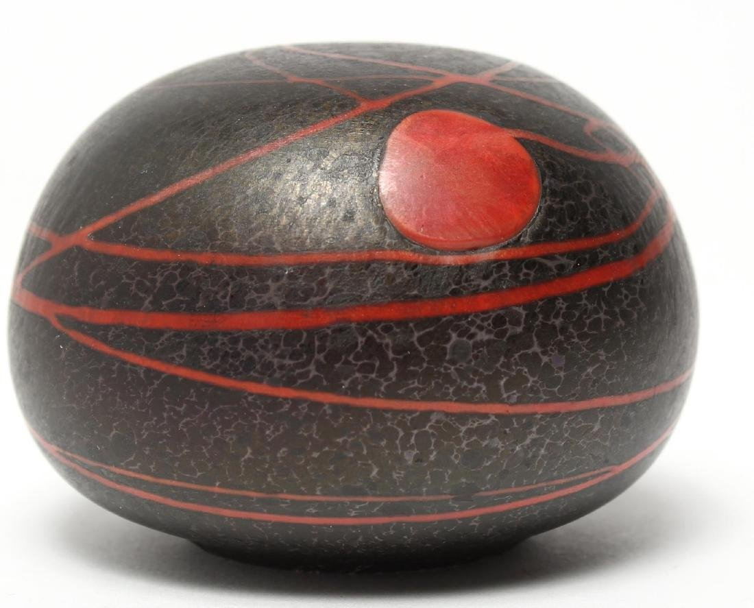 Black & Red Art Glass Glove Paperweight
