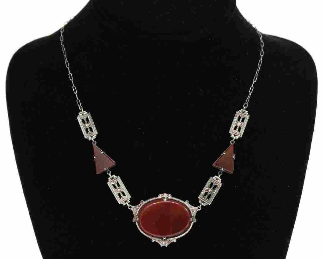 Art Deco Silver, Carnelian, & Marcasite Necklace