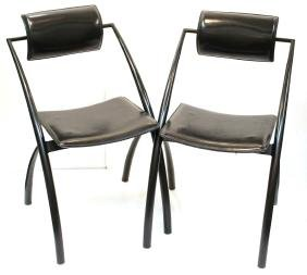 Pair of IASEM Leather Cantilever Chairs
