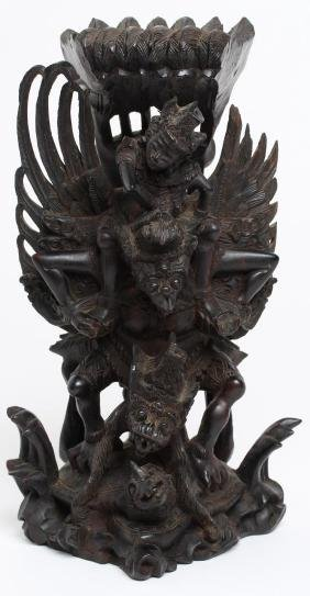 Indonesian Hand-Carved Wood Figure of Garuda