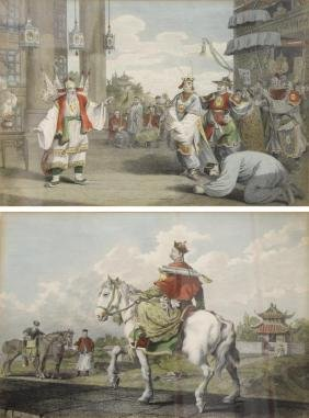 Pair of Antique Hand-Tinted Chinoiserie Engravings