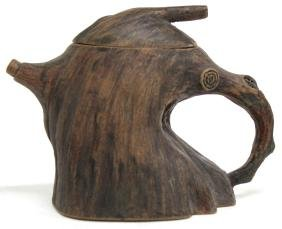 "Chinese Earthenware ""Tree Trunk"" Teapot"