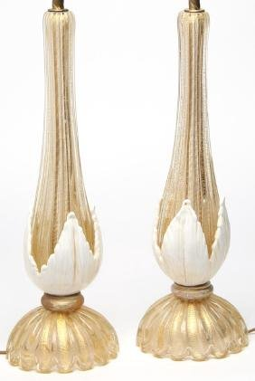 Pair of Large Murano Gold-Fleck Glass Lamps